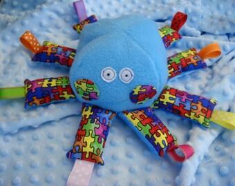 Stuffed autism awareness octopus