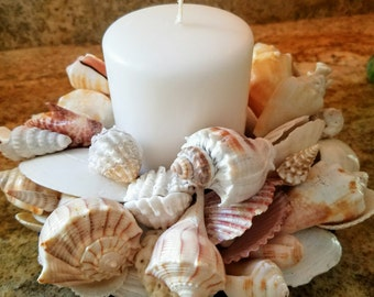 Seashell Blossoms Candle Pillar Holder Centerpiece 2 Tiered