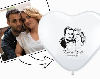Printed heart balloons with your photo, photo balloons (Ø 30 cm), wedding decoration, wedding balloons, MINIMUM ORDER QUANTITY: 50 Ballons