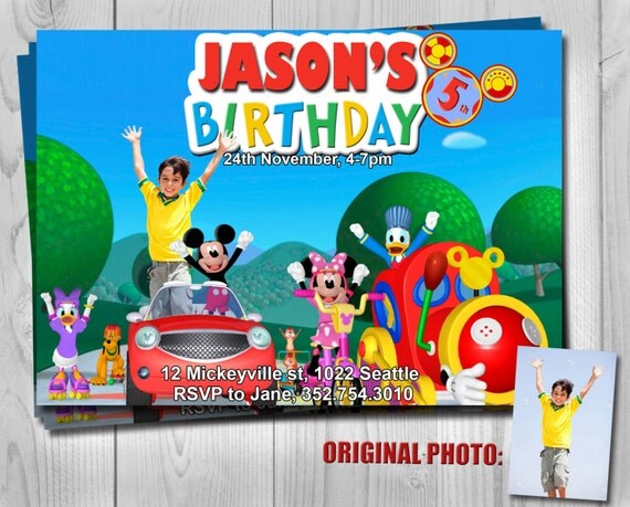 Disney Invitation - Mickey Mouse Clubhouse Birthday Party - Digital Party Invites by Printadorable - Customizable - 5 x 7 inches