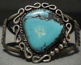 Ultra Rare Vintage Navajo Crow Springs/ Persin Turquoise Silver Bracelet