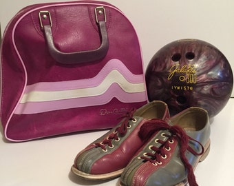 Purple Chevron Don Carter Bowling Bag with size 6 Brunswick Purple and Gray Shoes and Purple Swirl Bowling Ball