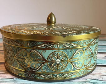 Vintage Teal & Gold Daher England Tin with Lid