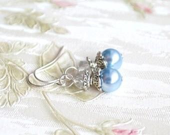 Light blue bridesmaid earrings Bridesmaid gift Blue earrings Light blue Bridesmaid jewelry Wedding jewelry from Swarovski beads