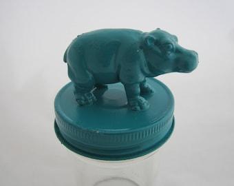 Teal Hippo Jar