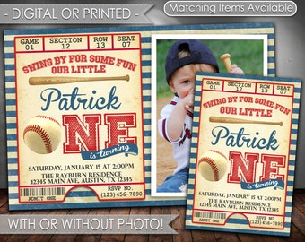 Baseball Invitation, Baseball Birthday Invitation, Baseball Invite, Baseball Birthday Party Invitation, Digital File or Printed, #545