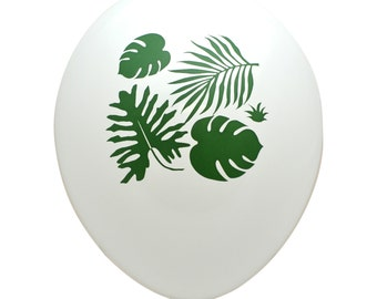Tropical Leaves Party Balloons - PB1152 - Latex Balloons - Tropical Party Decor - Botanical Party Decor - Palm Leaves - Monstera Leaves