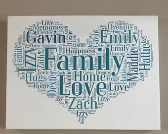Beautiful top quality word art typography on canvas, any design, wonderful gift for birthdays  wedding anniversary engagement, Mother's Day
