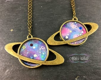 galaxy necklace - Bronze Saturn pendant - Hand made jewelry - Polymer clay and resin