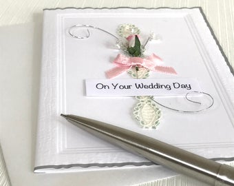 Wedding Day Card - Wedding Card - On Your Wedding Day - Getting Married Card - Handmade Card  - Rose Wedding Card - Pink Rose Card