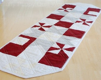 Maroon Table Runner, Burgundy Table Topper, Modern Red and Gray Decor, Quilted Table Mat, Dark Red Table Quilt, Star Pinwheel Table Runner