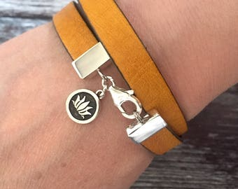Leather/ buffalo leather/ lotus flower/ charm/ sterling silver/ wrap bracelet