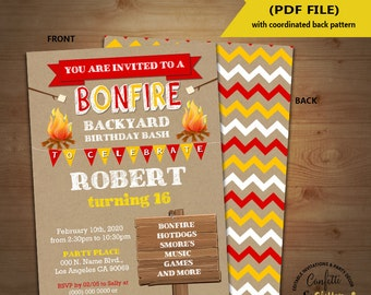 Bonfire birthday invitation outdoor party camping camp out invite kraft Instant Download YOU EDIT TEXT and print yourself invite 5503