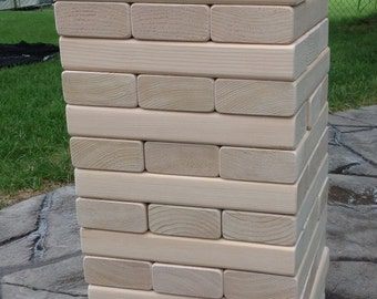 "Giant Wood block  Game,   2"" by 4"" by 10.5""   Tumbling blocks, Indoor Outdoor game. Jumbo wood blocks game. Ready to Ship>>>>>>"
