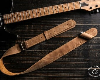 Camel Leather Guitar strap, Guitar straps, leather guitar straps, custom guitar straps, guitar accessories, cool guitar straps,guitar straps