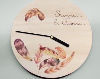 Wooden Wall Clock / Modern Wall Clock / Personalised Wedding Present / Feathers / Round Wooden Clock / Teenager Clock / Name Clock / Boho