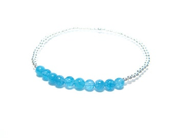 Aquamarine - Silver Beaded Bracelet