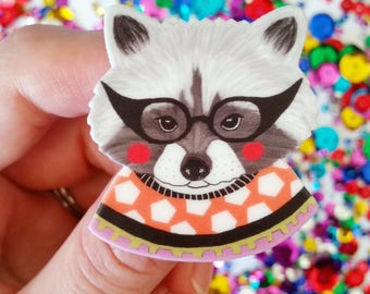 "Racoon pin // cute pin // animal pin // Retro brooch // hand drawn // ""Racoon in a Sweater"" // quirky // gift idea // gift for her"