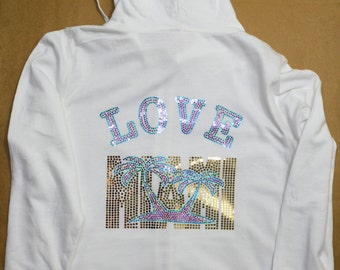 Women's I love Miami Bling Zip Hoodie Sequins sweatshirt