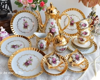 Tea set vintage floral tea set handmade Bavaria Germany tea cup set german porcelain floral teacup set