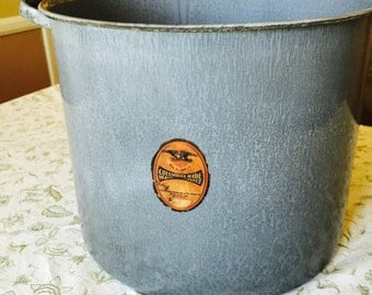 Enamelware Grey Soup Pot Vintage