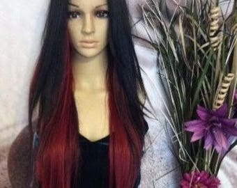 Human hair blend Black with  2 shades of red and  lace wig ''