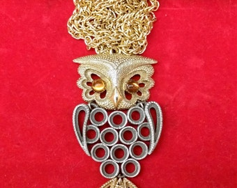 PEWTER and GOLD TONE Owl Pendant Necklace With Amber Eyes Vintage Circa 1960's - 1970's Jewelry