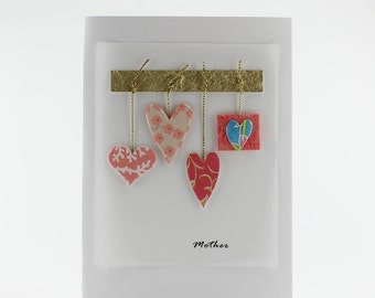 """Handmade Greeting Card - """"Mother"""" with Hanging Hearts from Fine Art Papers"""