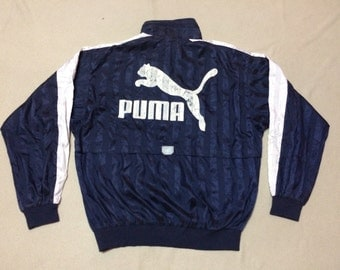 Rare 90s Vintage Puma Spell Out Big Logo Removable Hooded Windbreaker Jacket