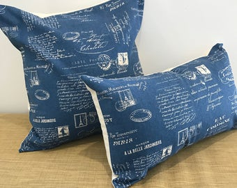 "Blue Linen French Country Script Fabric Text Shabby Style Cushion Cover Pillow Throw. 18""/20"". Made Australia"