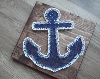 Anchor String Art, String Art Anchor, Anchor Decor, Anchor Wall Hanging, Nautical Decor, Nautical String Art, Nautical Wall Hanging, Anchor