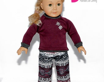 American made Girl Doll Clothing, 18 inch Doll Clothing, Doll Pajamas made to fit like American girl doll clothes