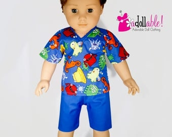 American made Boy Doll Clothes, 18 inch Boy Doll Clothing, Boy Summertime Pajamas made to fit like American girl doll clothes