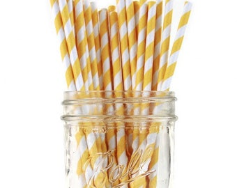 Paper Straws | Yellow Striped Paper Straws | Yellow & White Striped Straws | Eco friendly Biodegradable | Party Supplies | The Party Darling