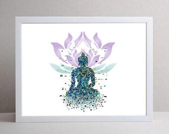 Buddha Art, Digital Art, Meditation Art, Zen Art, Yoga Art Digital print, Lotus Art, Mindful Art, Peaceful Art, Energy Art, Energy Print