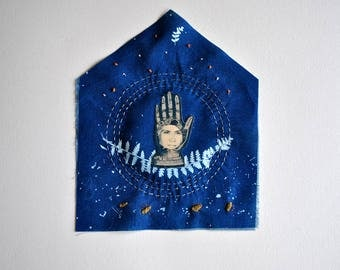 Reading hand / Original Artwork. Textile cyanotype, embroidery and paper.