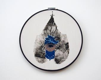 Awake / Original artwork. Botanical print, cyanotype, lace, cotton textile.