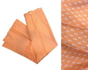Vintage Womens Pants Peach Pants Apricot Pants 60s Pants 70s Pants Chevron Detail High Waisted Pants High Waist Pants Retro Pants