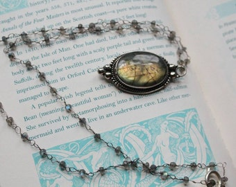 "Labradorite ""Gypsy Lovin'"" Long Wire Wrapped Necklace in Sterling Silver"