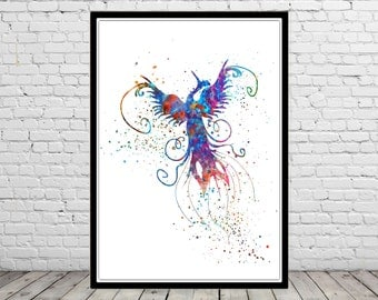 Phoenix, phenix,  Phoenix bird, phenix bord,  Phoenix watercolor, Phoenix mythology, mythology, Home Decor Kids Room Decor,Poster (2479b)