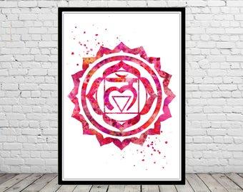 Root chakra, muladhara chakra, meditation chakra Print, chakra wall art, chakra poster, spiritual, yoga, reiki, zen, love (2816b)