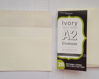Envelopes A2 -- Ivory with Scallop Flap.  20 Count