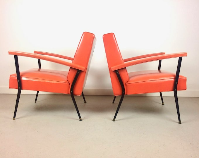 SOLD Mid Century Modern Pair of Orange Lounge Chairs