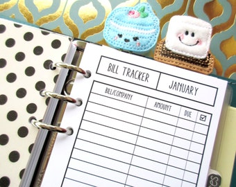 Monthly Bill Tracker - Personal Size Printed Insert