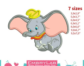 Applique Dumbo Baby Elephant. Machine Embroidery Applique Design. Instant Digital Download (17324)