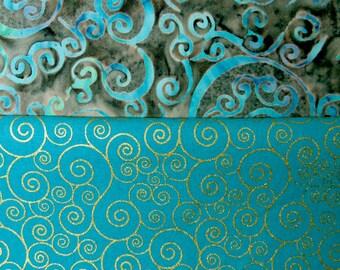 Whimsical Teal Blue Swirls Fabric Fat Quarter 2 Pack