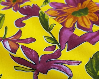 """Dressmaking Fabric Cotton Fabric For Sewing Designer 40"""" Wide Yellow Cotton Fabric Floral Printed Sewing Dress Material By The Yard ZBC6215"""