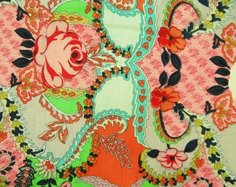 """Multicolor Floral Print, Designer Fabric, Quilt Material, Apparel Fabric, 45"""" Inch Cotton Fabric By The Yard ZBC7529A"""