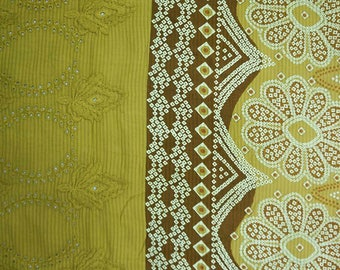 """Ethnic Fabric, Floral Print, Green Fabric, Home Accessories, Embroidery Fabric, 45"""" Inch Cotton Fabric By The Yard ZBC7766A"""