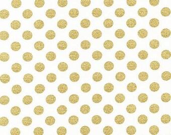Robert Kaufman Spot On 100% Cotton, White, Metallic Gold Spots, Dress Fabric, Quilting Fabric UK